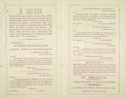 Advert For H. Becker, Canvas Merchant & Shop Blind Manufacturer V